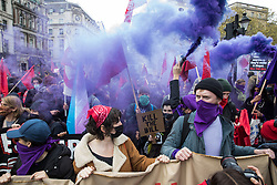 London, UK. 1st May, 2021. Smoke grenades are released as thousands of people leave Trafalgar Square on a Kill The Bill demonstration as part of a National Day of Action to mark International Workers Day. Nationwide protests have been organised against the Police, Crime, Sentencing and Courts Bill 2021, which would grant the police a range of new discretionary powers to shut down protests.