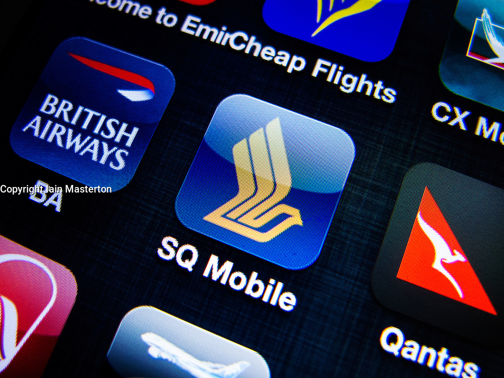 detail of Singapore Airlines  airline app icon on iPhone screen