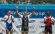Aiguebelette, FRANCE  Men's single sculls medals. left Silver Medal CZE. M1XOndjj SYNEK,  centre NZL M1X, Mahe DRYSDALE and right, Bronze Medal, CUB M1X. Angel FOURNIER RODRIGUEZ.  at the 2014 FISA World Cup II. 14:13:36  Sunday  22/06/2014. [Mandatory Credit; Peter Spurrier/Intersport-images]