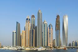 Skyline of modern high-rise apartment towers at Dubai Marina district in Dubai united Arab Emirates