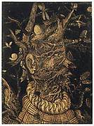 Winter' 17th century. Oil on board. Anonymous. Grotesque head  formed of wood, fungi, roots and covered with caterpillars, moths and snails, all rising from a rope garment and metal collar.