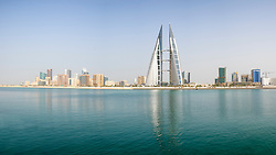 View of World Trade Center and skyline of Manama in Kingdom of Bahrain