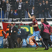 Trabzonspor's Burak YILMAZ (L) celebrate his goal during their Turkish Superleague Derby match Besiktas between Trabzonspor at the Inonu Stadium at Dolmabahce in Istanbul Turkey on Sunday, 06 March 2011. Photo by TURKPIX