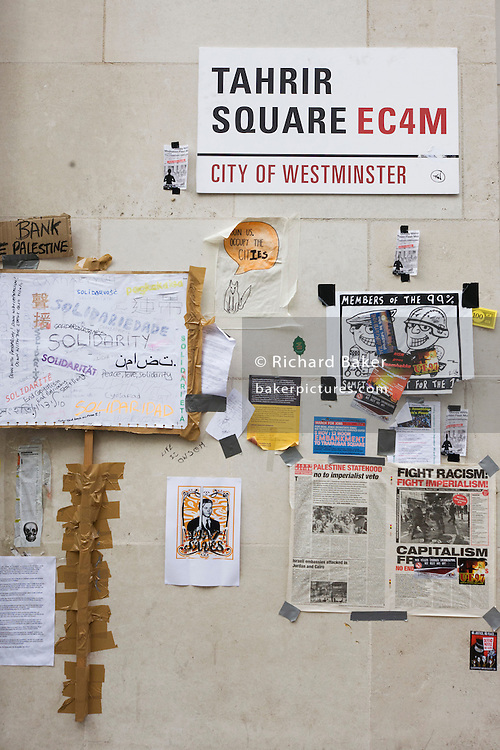 A makeshift street sign for Tahrir Square in St Paul's Cathedral churchyard, during the anti-capitalism Occupy London protests.
