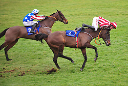 Davy Russell does well to stay aboard Ordinary World after a mistake at the last fence in the Coral Dublin Steeplechase during day one of the Dublin Racing Festival at Leopardstown Racecourse.