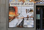 Historic ceramic tiles picture on wall, Horno de Asar, Calle Cava Baja, La Latina, Madrid city centre, Spain