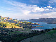 High-angle view overlooking Akaroa Harbor, on the Banks Peninsula, near Christchurch, New Zealand