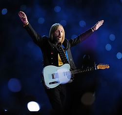 TOM PETTY (Oct. 20, 1950 - Oct. 02, 2017) is an American musician, singer, songwriter, multi instrumentalist and record producer. He is best known as the lead singer of Tom Petty and the Heartbreakers, but is also known as a member and co-founder of the late 1980s supergroup the Traveling Wilburys. Petty has sold more than 80 million records worldwide, making him one of the best-selling music artists of all time.He was inducted into the Rock and Roll Hall of Fame in 2002. PICTURED: Feb. 3, 2008 - Glendale, Arizona, U.S. - TOM PETTY and the Heartbeakers perform during the halftime show of Super Bowl XLII at University of Phoenix Stadium. (Credit Image: © Karl Mondon/MCT/ZUMAPRESS.com)
