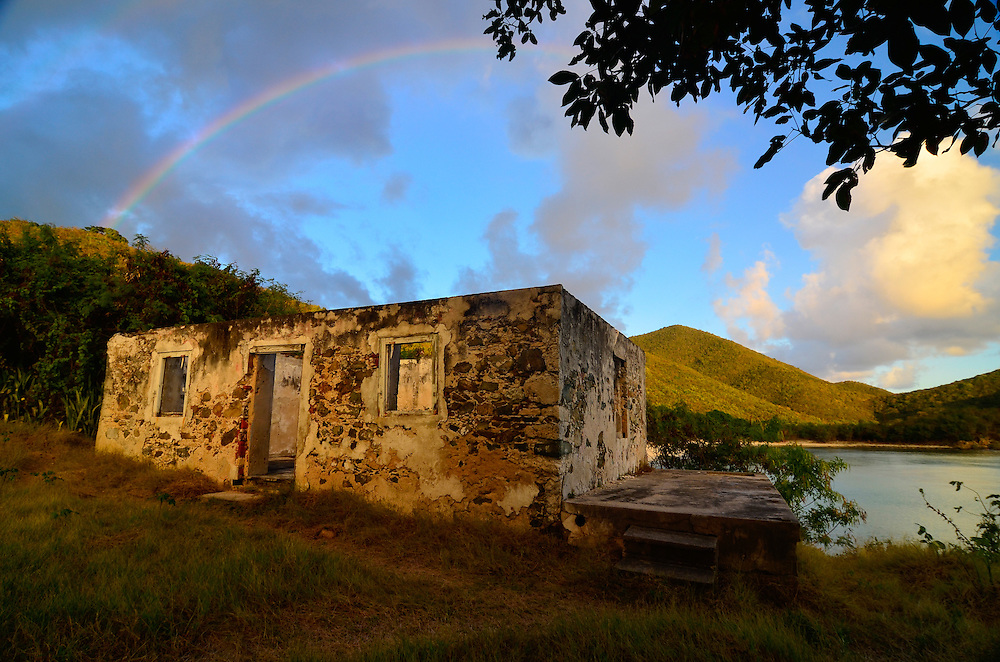 Rainbow over sugar mill ruin, Virgin Islands National Park, St. John, U.S. Virgin Islands.