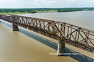 63807-01107 Freight train on Union Pacific railroad crossing the Mississippi river on the Thebes bridge Thebes, IL