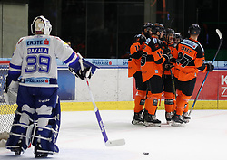 06.01.2019, Merkur Eisstadion, Graz, AUT, EBEL, Moser Medical Graz 99ers vs EC VSV, 36. Runde, im Bild von links Dan Bakala (EC Panaceo VSV), Dwight King (Moser Medical Graz 99ers), Amadeus Egger (Moser Medical Graz 99ers), Matt Garbowsky (Moser Medical Graz 99ers), Colton Yellow-Horn (Moser Medical Graz 99ers) und Ty Loney (Moser Medical Graz 99ers) // during the Erste Bank Eishockey League 36th round match between Moser Medical Graz 99ers and EC VSV at the Merkur Eisstadion in Graz, Austria on 2019/01/06. EXPA Pictures © 2019, PhotoCredit: EXPA/ Erwin Scheriau