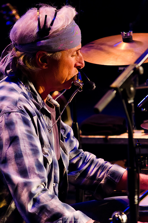 Jimmie Fadden on drums and harmonica for the Nitty Gritty Dirt Band at the Landis Theater in Vineland, NJ.
