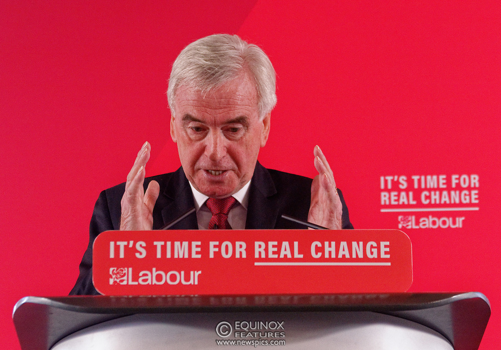 London, United Kingdom - 9 December 2019<br /> John McDonnell gives an economics speech in the run up to the general election 2019, on behalf of the Labour Party at Coin Street Community Builders, London, England, UK.<br /> (photo by: EQUINOXFEATURES.COM)<br /> Picture Data:<br /> Photographer: Equinox Features<br /> Copyright: ©2019 Equinox Licensing Ltd. +443700 780000<br /> Contact: Equinox Features<br /> Date Taken: 20191209<br /> Time Taken: 11364023<br /> www.newspics.com