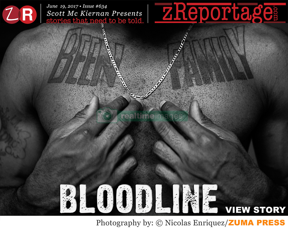 zReportage.com Story of the Week # 634 - Bloodline - Launched June 19, 2017 - Full multimedia experience: audio, stills, text and or video: Go to zReportage.com to see more - This essay offers a rare look inside the daily lives of members of one of the biggest gangs in the United States.'The Bloodline' are a chapter designated by the Brooklynn Latin Kings gang to the State of New York, one of the most organized gangs in America with more than 35,000 active members. The Kings are the oldest and largest Hispanic street gang in the United States, its roots date to 1954 Humboldt Park in Chicago. We see the extreme life conditions for the majority of gang members and also the relationship between gang members and society. It explores the intimacy and naivety of teenagers who have been pushed by their economic status, racial or social issues to survive in a hostile environment in one of the most developed cities in the world. It also draws attention to the happiness, unity and respect they show each other and the importance of the family and religion in their lives. The Trump administration recently vowed to crack down on violent gang members and criminals from American Communities. Recent nationwide gang apprehension programs such as Project Dawn, focusing on dismantling transnational gangs have seen hundreds arrested in New York alone. (Credit Image: © Nicolas Enriquez/zReportage.com via ZUMA Wire)