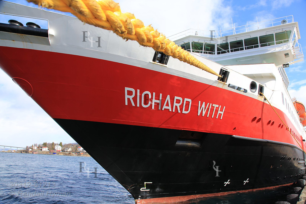 Bow of Hurtigruten coastal cruise ship, Richard Witt, at dock in Finnsnes, Norway.