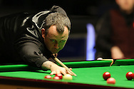 Mark Williams of Wales in action during his match against Mark Selby. . Betvictor Welsh Open snooker 2016, day 4 at the Motorpoint Arena in Cardiff, South Wales on Thursday 18th Feb 2016.  <br /> pic by Andrew Orchard, Andrew Orchard sports photography.