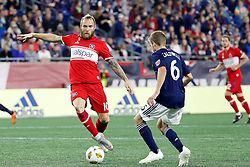 September 22, 2018 - Foxborough, MA, U.S. - FOXBOROUGH, MA - SEPTEMBER 22: Chicago Fire midfielder Aleksandar Katai (10) moves in on New England Revolution midfielder Scott Caldwell (6) during a match between the New England Revolution and the Chicago Fire on September 22, 2018, at Gillette Stadium in Foxborough, Massachusetts. The teams played to a 2-2 draw. (Photo by Fred Kfoury III/Icon Sportswire) (Credit Image: © Fred Kfoury Iii/Icon SMI via ZUMA Press)