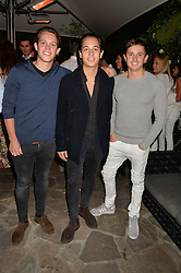 Left to right, brothers HARRY LINEKER, TOBIAS LINEKER and GEORGE LINEKER sons of Gary Lineker at a reception hosted by Tiffany Watson in aid of The Eve Appeal held at The Phene, 9 Phene Street, London on 8th September 2015.
