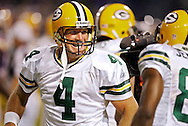 Green Bay Packers' Brett Favre celebrates completing his 421 touchdown pass to break the NFL Career Touchdown record in the first quarter. The Record was held  by Dan Marino. The pass was a 16-yard pass to Greg Jennings..The Green Bay Packers traveled to the Metrodome in Minneapolis to play the Vikings Sunday September 30, 2007. Steve Apps-State Journal.3