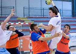 Matjaz Brumen and Sebastjan Skube and Jure Dobelsek at practice of Slovenian Handball Men National Team, on June 4, 2009, in Arena Kodeljevo, Ljubljana, Slovenia. (Photo by Vid Ponikvar / Sportida)