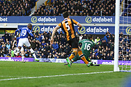 Enner Valencia of Everton puts the ball past Hull City Goalkeeper Eldin Jakupovic to score his teams 2nd goal.Premier league match, Everton v Hull city at Goodison Park in Liverpool, Merseyside on Saturday 18th March 2017.<br /> pic by Chris Stading, Andrew Orchard sports photography.
