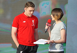 LIVERPOOL, ENGLAND - Monday, May 9, 2016: Liverpool's Connor Randall is interviewed by Claire Rourke at the launch of the New Balance 2016/17 Liverpool FC kit at a live event in front of supporters at the Royal Liver Building on Liverpool's historic World Heritage waterfront. (Pic by Lexie Lin/Propaganda)