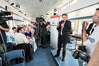 04 JUN 2019, BERLIN/GERMANY:<br /> Rolf Muetzenich (R), SPD, kom. Fraktionsvorsitzender der SPD-Bundestagsfraktion, vor Beginn der Spargelfahrt des Seeheimer Kreises der SPD, Anleger Wannsee<br /> IMAGE: 20190604-01-185<br /> KEYWORDS: Rolf Mützenich