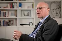 17 DEC 2019, BERLIN/GERMANY:<br /> Norbert Lammert, CDU, Vorsitzender der Konrad-Adenauer-Stiftung, KAS, waehrend einem Interview, in seinem Buero, Konrad-Adenauer-Stiftung<br /> IMAGE: 20191217-02-026<br /> KEYWORDS: Büro