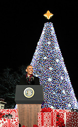 December 1, 2016 - Washington, DC, United States of America - U.S President Barack Obama smiles as he lights the national Christmas tree during a ceremony on the Ellipse December 1, 2016 in Washington, DC. (Credit Image: © Interior Department/Planet Pix via ZUMA Wire)