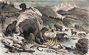 Machine coloured image of an ideal European landscape in the Quaternary epoch with bears, elks and mammoths. Wood engraving By: Eugene Meunier, Eduard Riou