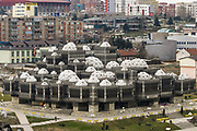 """A general overview of the highest library institution in Kosovo established by the Assembly in 1982 photographed two days prior to country's first anniversary of independence, Feb 15, 2009. <br /> Kosovo's parliament declared the disputed territory a nation on Sunday, February 17, 2008 - mounting a historic bid to become an """"independent and sovereign state"""" backed by the U.S. and key European allies but bitterly contested by Serbia and Russia. (Photo/Vudi Xhymshiti)"""