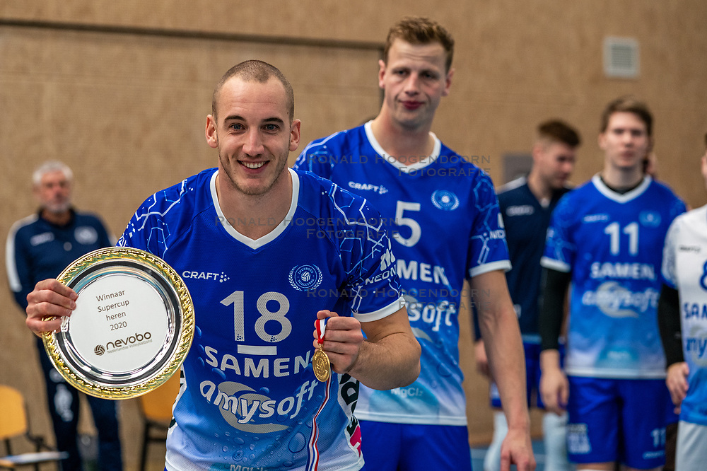 Dennis Borst #18 of Lycurgus and the supercup scale after the final match Amysoft Lycurgus - Active Living Orion on October 04, 2020 in Van der Knaaphal, Ede