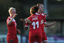 Jade Boho Sayo of Bristol Academy celebrates her goal with Lauren Townsend (left) and Caroline Weir (right) - Mandatory byline: Dougie Allward/JMP - 07966386802 - 27/08/2015 - FOOTBALL - Stoke Gifford Stadium -Bristol,England - Bristol Academy Women FC v Oxford United Women - FA WSL Continental Tyres Cup