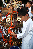 "Japanese festivals are traditional festive occasions. Some festivals have their roots in Chinese festivals but have undergone dramatic changes as they mixed with local customs.  Matsuri is the Japanese word for a festival or holiday. In Japan, festivals are usually sponsored by a local shrine or temple, though they can be secular..There is no specific matsuri days for all of Japan; dates vary from area to area, and even within a specific area, but festival days do tend to cluster around traditional holidays such as Setsubun or Obon. Almost every locale has at least one matsuri in late summer or autumn, usually related to the harvests. Matsuri almost always feature processions which include elaborate floats and ""mikoshi"" or portable shrines which are paraded around the neighborhood."