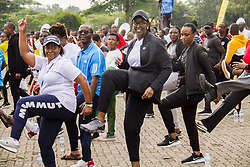 KIGALI, Dec. 1, 2019  Rwandan First Lady Jeannette Kagame (C, Front) participates in an activity marking the World AIDS Day in Kigali, capital of Rwanda, on Dec. 1, 2019. Rwanda joined the rest of the world to mark the World AIDS Day with special car-free day activities in Kigali on Sunday. (Photo by Cyril Ndegeya/Xinhua) (Credit Image: © Cyril Ndegeya/Xinhua via ZUMA Wire)