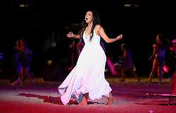 Ricki-Lee Coulter performs during the Opening Ceremony for the 2018 Commonwealth Games at the Carrara Stadium in the Gold Coast, Australia.