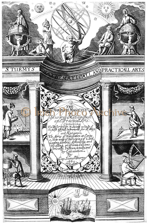 Title page of Samuel Sturmy 'Mariners Magazine', London, 1669. Sturmy (1633-69) was a sea captain and sailed to the West Indies and Virginia. This book is a textbook on practical mathematics and navigation and shows instruments for surveying, navigation and gunnery. Engraving