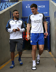 Leicester City's Danny Simpson (left) and Harry Maguire arrive