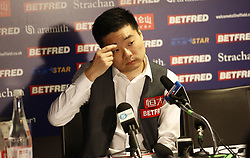 BRITAIN-SHEFFIELD-SNOOKER-WORLD CHAMPIONSHIP-QUARTERFINAL..(180502) -- SHEFFIELD (BRITAIN), May 2, 2018   Ding Junhui of China speaks during the post match press conference after his quarter final match with Barry Hawkins of England at the World Snooker Championship 2018 at the Crucible Theatre in Sheffield, Britain on May 2, 2018. (Credit Image: © Craig Brough/Xinhua via ZUMA Wire)