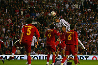 Photo: Andrew Unwin.<br />England v Macedonia. UEFA European Championships 2008 Qualifying. 07/10/2006.<br />England's Peter Crouch tries to break the deadlock with a header.