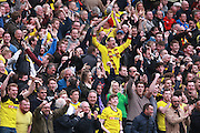Watford fans during the Sky Bet Championship match between Brighton and Hove Albion and Watford at the American Express Community Stadium, Brighton and Hove, England on 25 April 2015.