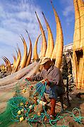 PERU, NORTH, TRUJILLO 'caballitos de totora' fishing boats