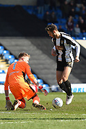 Chesterfield goalkeeper Aaron Ramsdale (1) and Notts County midfielder Jorge Grant (10) during the EFL Sky Bet League 2 match between Chesterfield and Notts County at the b2net stadium, Chesterfield, England on 25 March 2018. Picture by Jon Hobley.