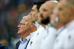 France manager Didier Deschamps sings the national anthem
