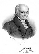 Franz Joseph Gall (1758-1828), German physician and founder of Phrenology, c1820. The theory that different mental powers are governed by particular regions of the brain which can be recognised by the contours of the cranium had great popularity but was suppressed in 1802 as being a subversive religion.  It enjoyed a second wave of popularity later in the 19th century.  French lithograph c1820.