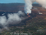 Aerial view of Kilauea Volcano east rift zone erupting hot lava from Fissure 8 in the Leilani Estates residential subdivision near the town of Pahoa in Puna District, Hawaii Island ( the Big Island ), Hawaiian Islands, U.S.A.