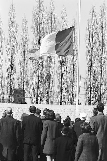 Irish flag raised above attendees of the GAA Annual Congress at the Garden of Remembrance, Parnell Square, Dublin during a luncheon interval of congress...Annual Congress, GAA. 6.4.1969. 6th April 1969