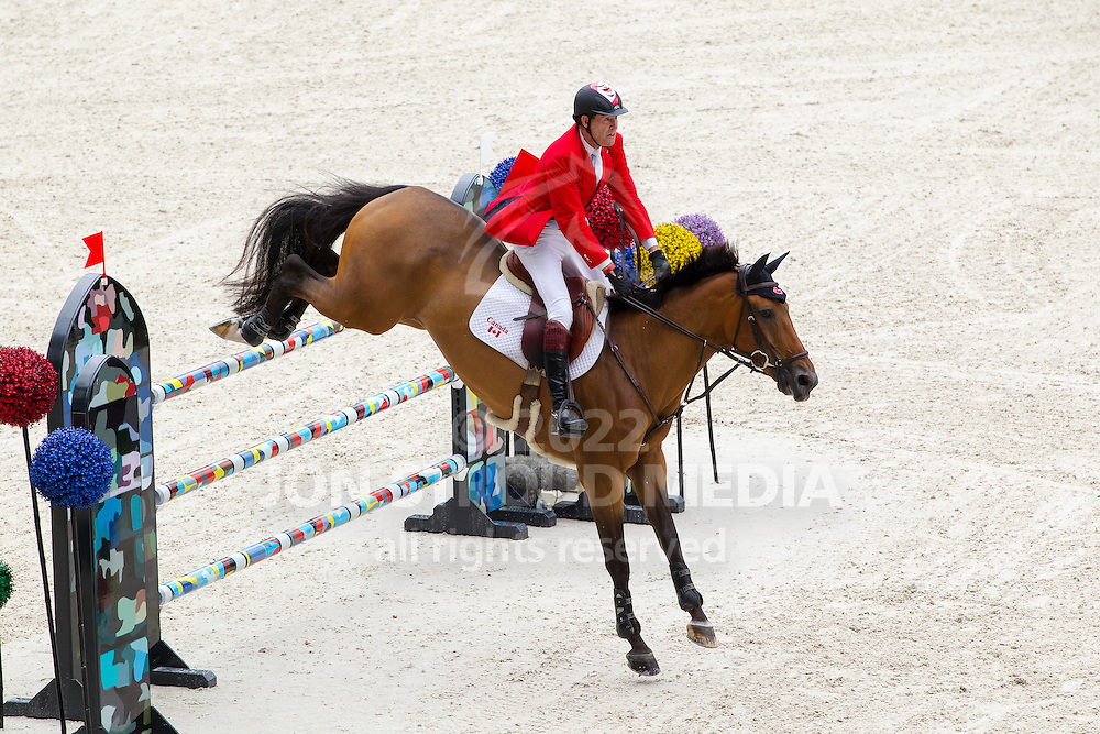 Ian Millar, (CAN), Dixson - Team & Individual Competition Jumping Speed - Alltech FEI World Equestrian Games™ 2014 - Normandy, France.<br /> © Hippo Foto Team - Leanjo De Koster<br /> 02-09-14