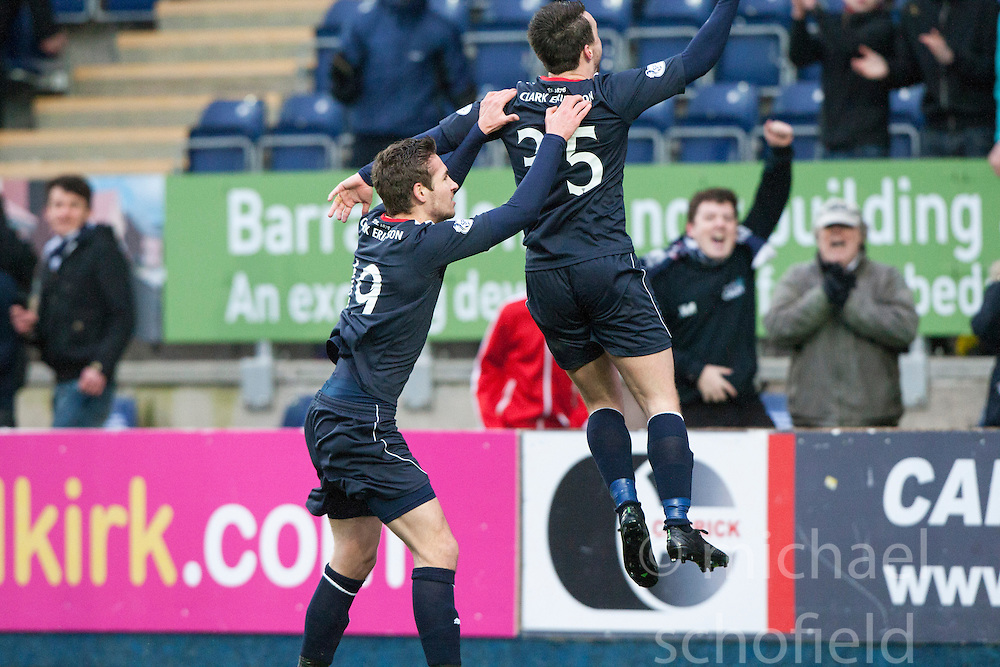 Falkirk's Mark Millar cele scoring their goal from the penalty spot.<br /> Falkirk 1 v 0 Queen of the South, Scottish Championship game today at the Falkirk Stadium.<br /> © Michael Schofield.