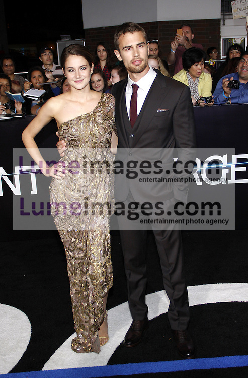 """Shailene Woodley and Theo James at the Los Angeles premiere of """"Divergent"""" held at the Regency Bruin Theatre in Westwood, USA on March 18, 2014."""